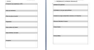 Ejemplo de tablas para estructurar la información de un Plan Individual de Atención, donde aparece un apartado de datos personales y otro de preferencias e intereses personales